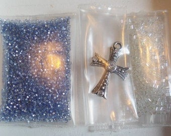 14g, Blue and Clear Seed Beads, free Cross charm/pendant, S43