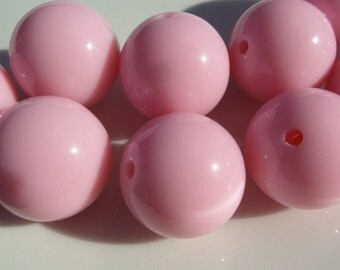 14MM 25CT or 16MM, 20CT, Soft Pink bubblegum beads, Chunky Pink Beads, bubble gum chunky beads, B47