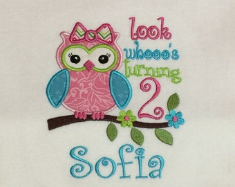 Birthday Tshirt Applique Owl with Name & Age