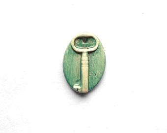 Vintage Key Pendant Handmade Ceramic Colour Washed Teal