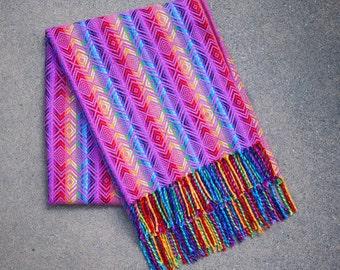 Peruvian Rainbow Alpaca Shawl Blanket