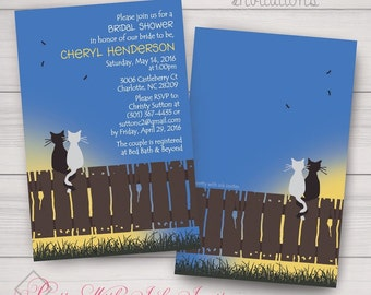 Fun Wedding/Engagement/ Shower/Anniversary Invitations: Kitty, Cats, Love, Fence, Sunrise, Sunset. Samples/Digital Files/Printing Available