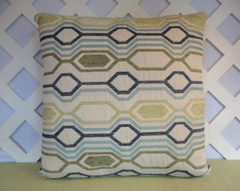 Geometric Pillow Cover in Blue Green Ivory / Blue Green Pillow / Ivory Pillow / Decorative Pillow / Accent Pillow / 18 x 18 Pillow