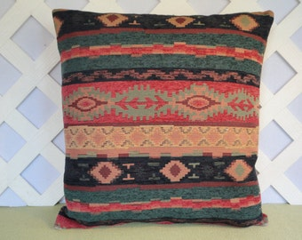 Tribal Pillow Cover in Navy Teal Coral / Aztec Pillow / Southwestern Pillow / Teal Coral Pillow / Accent Pillow / 18 x 18 Pillow