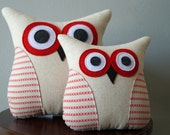 Red & Blue Owl PIllow - Red Pillow - Red and Blue Home Decor - Red/Blue Cross Stitch Fabric - Large/Small
