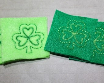 Shamrock feltie, choice light or kelly green felt w/ dk or lt green stitching for St. Patricks Day, 4 pcs forhair accessories, scrapbooking