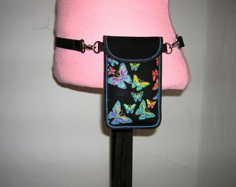 iPhone 6 Cover Hip Case fanny pack Smartphone Pocket iphone 6s  belt cellPhone purse handmade Fabric Small Bag butterfly rainbow colorful