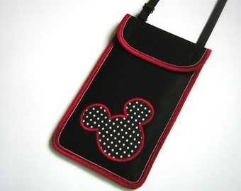Cellphone case iPhone 6 Plus Cover Smartphone Pocket neck purse Small Crossbody Bag iPod Cover Hipster Wallet  Mickey Mouse Black Red dots