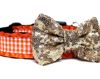 """Dog Collar Bow Add-On Light Gold Sparkle Bow for Dogs FOR 1.5"""" BUCKLE COLLAR"""