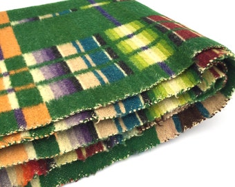 Rare Mexican Wedding Blanket, Antique Wool, Green Plaid Multi Colored