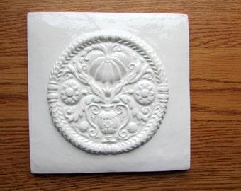 6x6 Ceramic Accent Tile -- ButterMold design tile in Bright White Glaze, backsplash, Decorative tile, IN STOCK