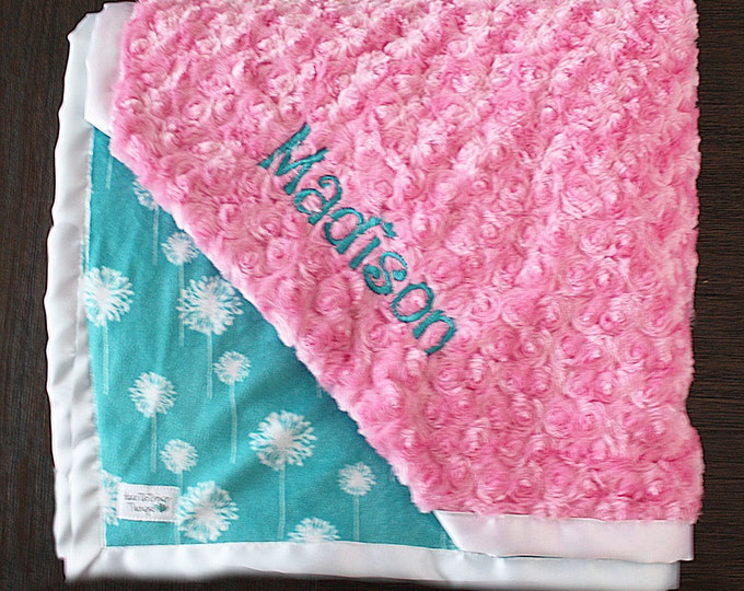 Embroidered Minky Blanket, Blanket with name, Baby Girl, Baby Gift, Teal and hot pink, gift for teen, Engraved Blanket, gift for girl