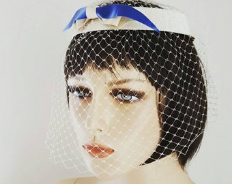 Vintage Halo Hat and Veil Cream and Periwinkle Blue Bow