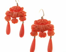 Hand Carved Coral 14k Gold Victorian Earrings Dogs, Bowls and Shells | Antique Victorian Coral Earrings | Antique Chandelier Earrings | 1880