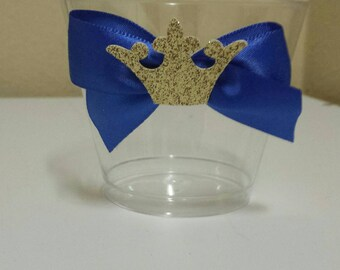 10 Royal Little Prince 1st birthday party or baby shower nut, candy or dessert cups custom made to match colors Pink Gold