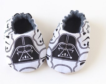 Baby boy shoes, baby booties in cool star wars theme.
