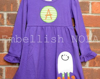 Witchy Ghost Halloween Applique Knit Ruffle Dress