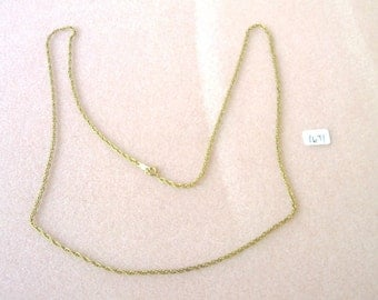 Vintage Gold Tone  Spiral Chain Necklace - 24 Inches - No. 1671