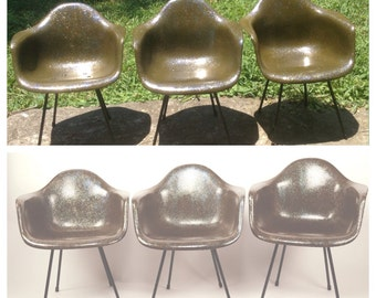 Sale! 3 Eames Zenith Griege Gray Shell Chairs X Base Zenith Herman Miller 2nd Production
