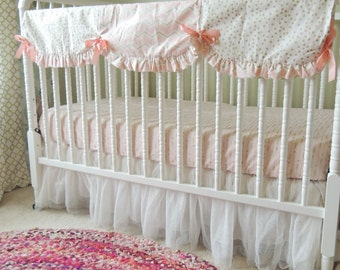 Custom Crib Bedding in Coral and Gold with Gold Teething Guard and Gold Sparkly Tulle Skirt, Gold Baby Bedding, Gold Baby Bedding