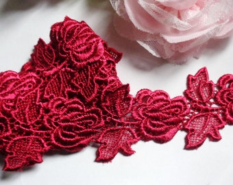 2 inch wide wine color embroidery lace 1 yard and 25 inch cut