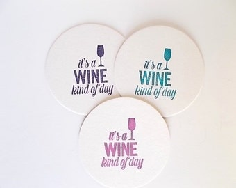 Wine Coasters, Hostess Gift, Wine Party Favors, Housewarming Gift, Hand Stamped Set of Drink Coasters
