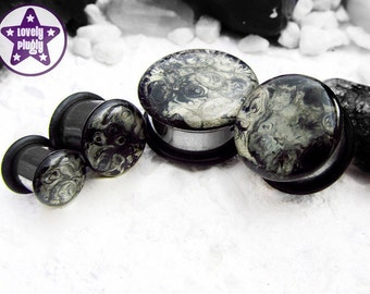 "Moon Rock Faux Stone Plug / Gauge Abstract Handpainted Black Grey 1/2"", 9/16"", 5/8"", 11/16"" / 12mm, 13mm, 14mm, 16mm, 18mm"