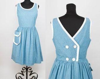 1950s Dress // Blue Chambray Sundress with Oversized Pocket and Double Breasted Button Back