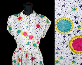 1940s Dress // Roman Faces Novelty Print Rayon Dress