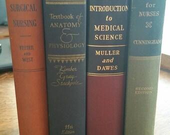 Decorative Medical / Nursing  Book Bundle Set of 4 Vintage Books