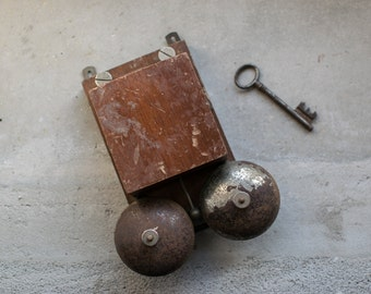 Telephone Ringer Bell  // 1940's Industrial Wood & Metal Door Bell