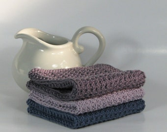 Hand knitted dish cloth - wash cloth - soft cotton set of 3 dusty blue purple grey lavender