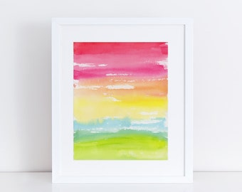 Modern Art, Peace, Rainbow, Watercolor Print, Minimalist Print, Abstract Art Print, Landscape Painting, Expressionist