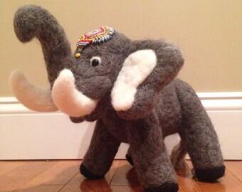 Needle Felted Elephant with Seed Beaded Head Dress