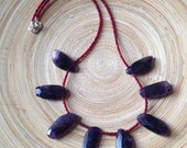 Amethyst necklace with dog tooth stones and red beads purple red necklace