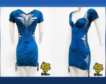 "D-2003 Womens / Juniors Mini Dress -""TRUE BLUE""- Shredded and Weaved Royal Blue Sexy Dress, Club Wear, Party Dress Size Small, Medium, Large"