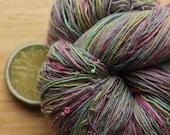 Neon Rainbow - Handspun Merino Wool Yarn Grey Lace