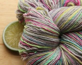 Neon Rainbow - Yarn Handspun Merino Wool Grey Sport