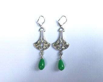 Art Nouveau Jade Earrings