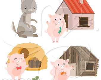 Three Little Pigs Digital Clip Art Clipart Set - Personal and Commercial Use