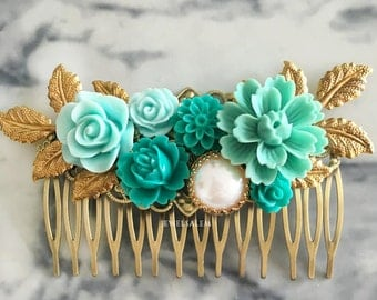Teal Hair Pin Aqua Flower Wedding Comb Turquoise Hair Clip for Bride Bridal Comb Bridesmaid Hair Accessories Gift Gold Leaf Hair Adornment