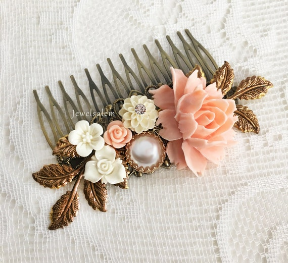 Pink Wedding Comb Peach Pink Bridal Hair Slide Romantic Hair Adornment for Bride Modern Victorian Chintz Design Affordable Bridesmaid Gift