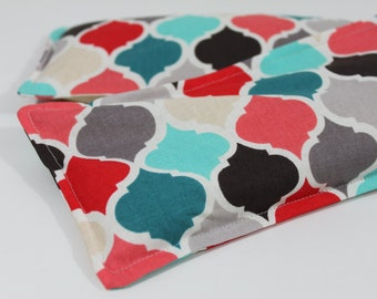 Neck & Shoulder Rice Bag - 4.5 x 21 inches, hot or cold therapy pack, multi-colored quatrefoil pattern, rice heating pad