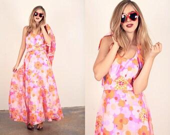 60s Hippie Dress Vintage Pink Floral Halter Maxi Dress