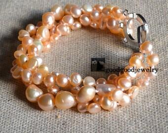 pink pearl bracelet,wedding bracelet,real pearl bracelet,freshwater pearl bracelet,4 rows 6-14mm pearl bracelet,pearl bracelet