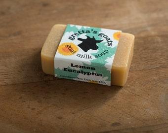 Organic Lemon Eucalyptus Goat Milk Soap from Hand Milked Goats that Graze on Organically managed Pasture