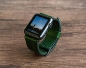 Apple Watch Leather Bands Watch Band Green Forest Color [Handmade] [Custom Colors] [FREE SHIPPING]