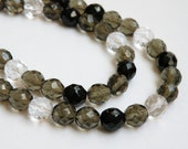 Tuxedo Mix Smoke Black Clear Czech fire-polished faceted glass beads Salt and Pepper 10mm 60 pcs full strand COLL-TUX
