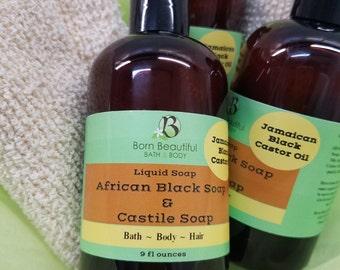 African Black Soap and Organic Castile Soap, Liquid Soap, Sulfate Free