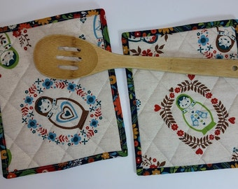 Matryoshka Pot Holders Set of Two